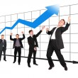 Businessmen showing growth-share matrix collage - Foto Stock