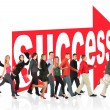 Stock Photo: Business themed collage, run to success following arrow sign