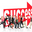 Business themed collage, run to success following the arrow sign — Stock Photo #7426418