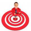 Stock Photo: Businessmin red shirt with his hands crossed, top view