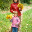 Little girl and young woman with maple leaves in hands in park i — Stock Photo #7426654