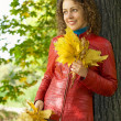 Stock Photo: Young woman with maple leaves in hands near tree in wood in autu
