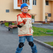 Boy on roller skates - Foto Stock