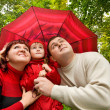 Married couple and little girl with umbrella in park — Stock Photo #7426992