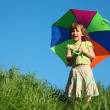 Stock Photo: Girl with multicoloured umbrellin grass