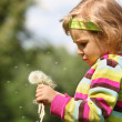 Small thoughtful girl with dandelions in hand - Stock Photo