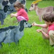 The girl and the boy feed a wooden animals — Stock Photo #7427710