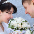 The newly married couple looking at each other — Stock Photo