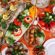 Holiday table with food — Stock Photo
