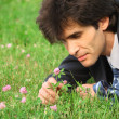 Businessman lying on grass looks at clover flower — Stock Photo