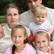 Family of five outdoor in summer — Stock Photo