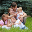 Family of five outdoor in summer — Stock Photo #7427964