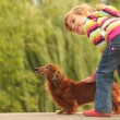 Little girl  and her dachshund - Stock Photo