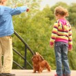 Children with dachshund outdoor — Stock Photo