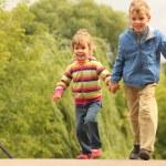 Children walk outdoor — Stock Photo