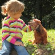 Stock Photo: Little girl caress dachshund outdoor