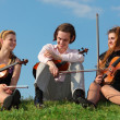 Three violinists sit on grass against sky - Stock Photo