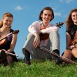 Three violinists sit on grass against sky - Стоковая фотография