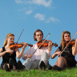 Three violinists sit and play on grass against sky - Zdjęcie stockowe