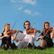 Three violinists sit and play on grass against sky - Stock Photo
