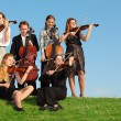 Group of  violinists play on  grass against sky - Stock Photo