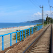 Railroad on sea coast - Stock Photo