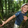Boy in bamboo grove in  Sochi arboretum — Stock Photo