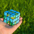 Stock Photo: Cube in manner of planets land on palm on background of the