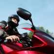 Motorcyclist, bottom view — Stock Photo