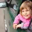Girl in the car — Stock Photo