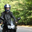 Stock Photo: Motorcyclist goes on road