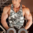 Stock Photo: Bodybuilder in training room