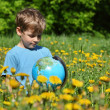 Boy with globe on meadow among blossoming dandelions — Stockfoto