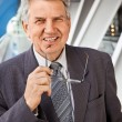 Senior man in the building — Stock Photo