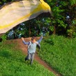 Boy starts to fly - Stock Photo