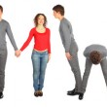 Man and woman making word teamwork — Stock Photo