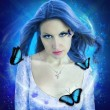 Night butterfly woman collage — Stock Photo