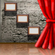 Frames on brick wall and curtain collage — Stockfoto