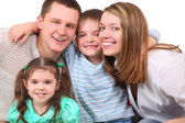 Closeup portrait of happy family — Foto Stock