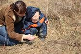 Madre con el niño mira en primera flor en primavera — Foto de Stock