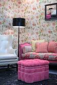 Pink pouf in living room — Stock Photo
