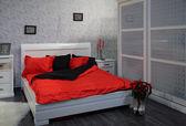 Grey bedroom — Stock Photo