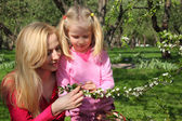 Mother and daughter look at blossoming branch of apple-tree in g — Stock Photo