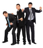 Cheerful three young businessmen — Stock Photo