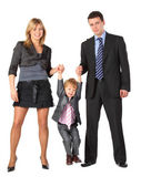 Parents hold son for hands, full body — Stock Photo