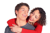 Young pair embraces and smiles — Stock Photo