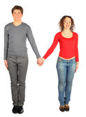 Young man and woman represents letter — Stock Photo