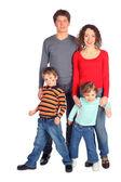 Feliz familia de cuerpo completo cuatro — Foto de Stock