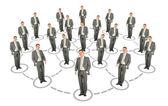 Businessman cooperation system scheme collage — Stock Photo