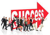 Business themed collage, run to success following the arrow sign — Stock Photo